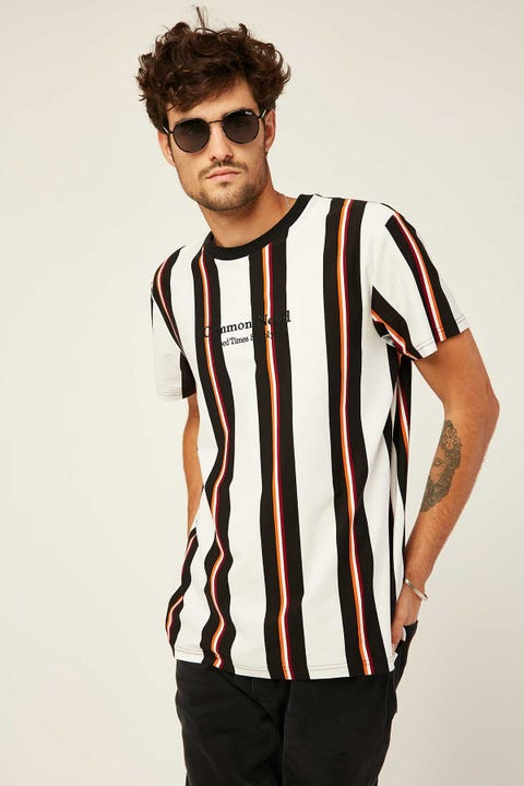 COMMON NEED Berlin Vertical Stripe Tee White/Black/Gold