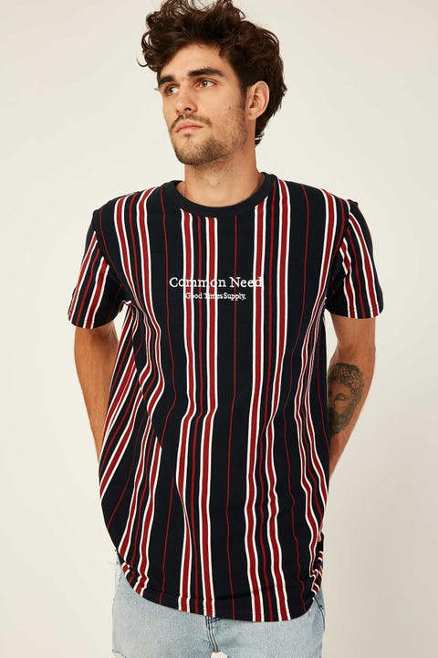 COMMON NEED Walter Stripe Tee Navy/White/Red