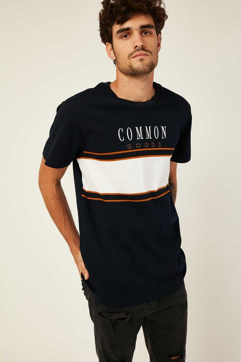 COMMON NEED Swerve Panelled Tee Navy/White/Gold