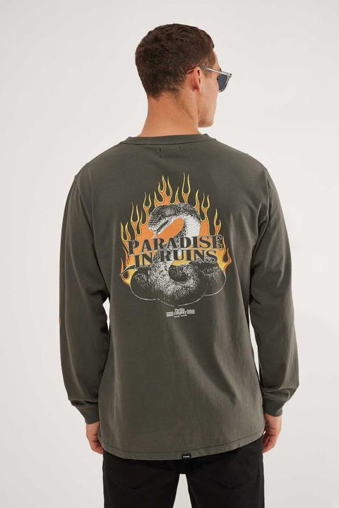 Thrills Power In Paradise Merch Fit Long Sleeve Tee Merch Black