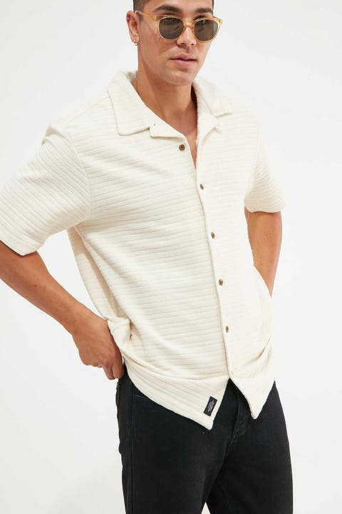 Thrills Terry Bowling Shirt Unbleached