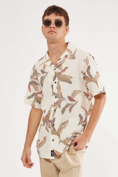 Thrills Feathered Short Sleeve Shirt Unbleached