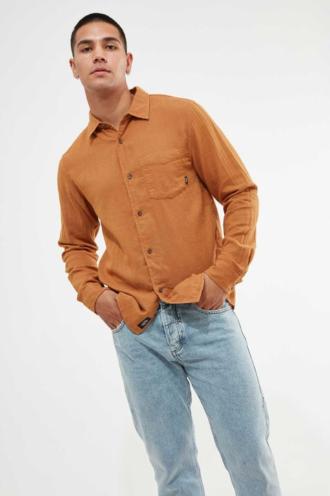 Thrills Dril Long Sleeve Shirt Golden Brown