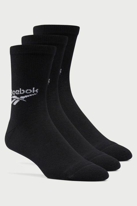 Reebok Mens CL FO Crew Sock 3 Pack Black
