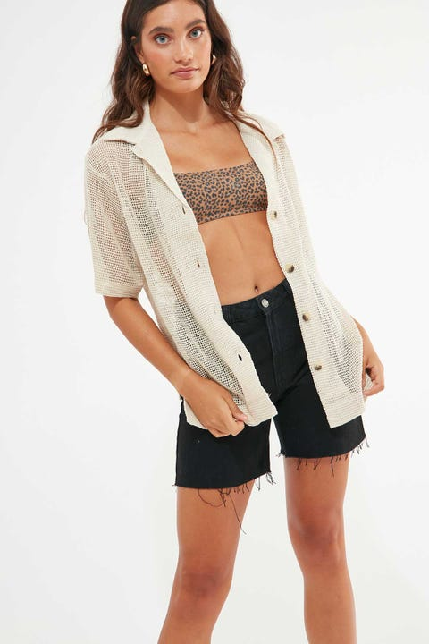 Thrills Mesh Slouch Shirt Unbleached