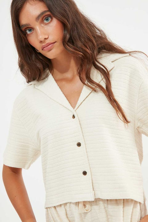 Thrills Terry Crop Shirt Unbleached