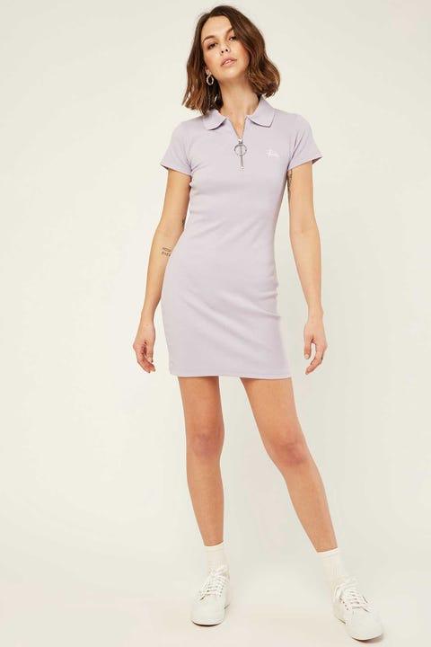 STUSSY Montery Rib Polo Dress Lilac