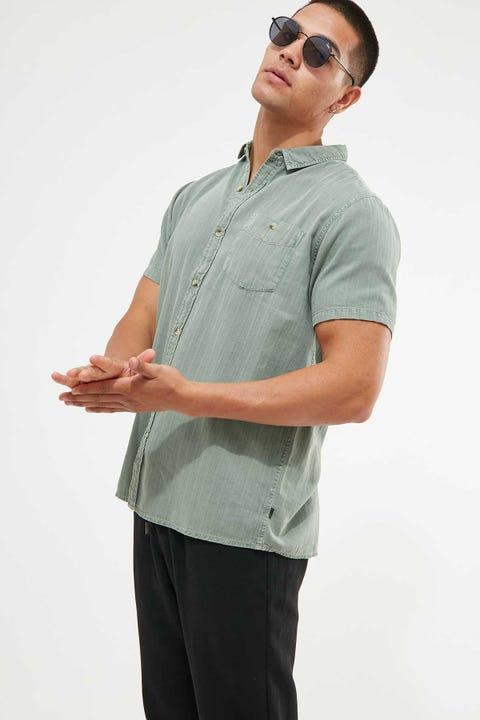 Rolla's Men At Work Herringbone Shirt Moss