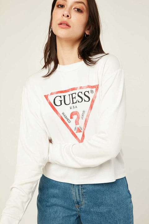GUESS ORIGINALS Classic Distress Logo Tee Pure White