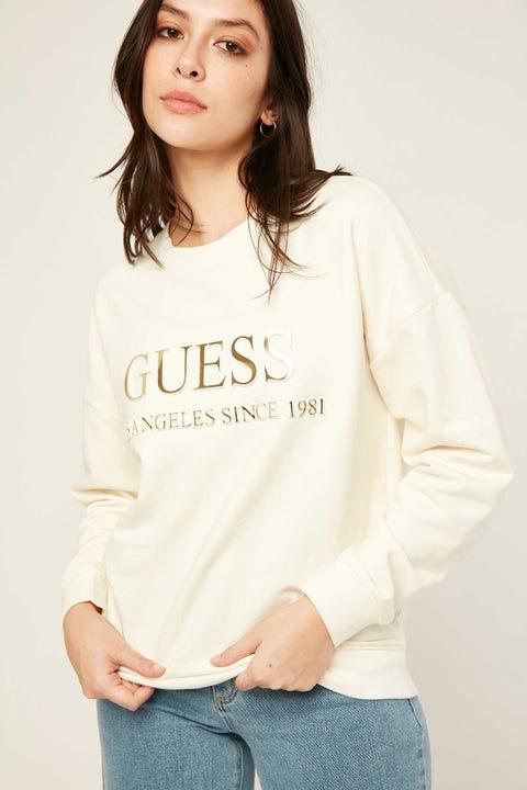 GUESS ORIGINALS Gold Embossed Sweatshirt Cream White