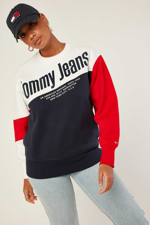 TOMMY JEANS Colorblock Crew White/Multi