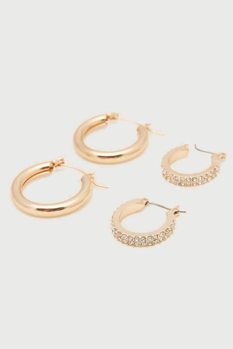 Token Double Hoop Earring Gold