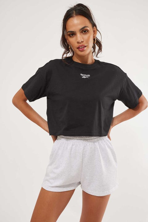 Reebok Cropped Small Logo Tee Black