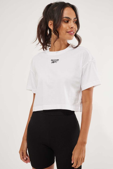 Reebok Cropped Small Logo Tee White