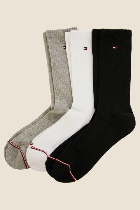 TOMMY JEANS Basic Sport Socks 3 Pack Grey/White/Black