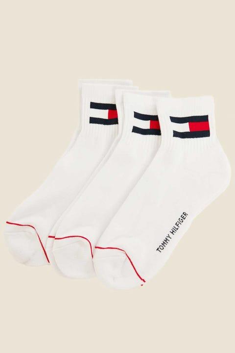 TOMMY JEANS Flag Quarter Socks 3 Pack White