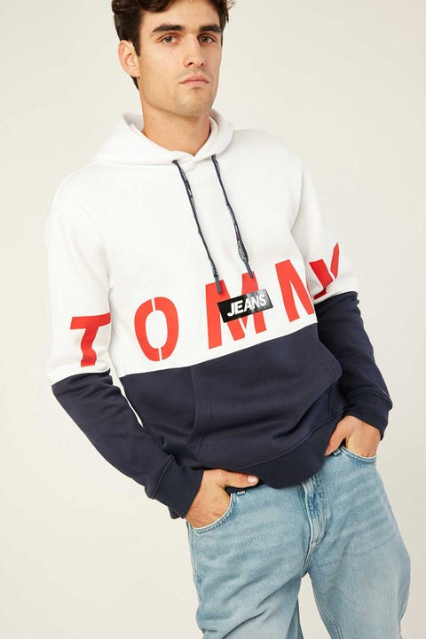 TOMMY JEANS TJM Logo Hoodie White Multi