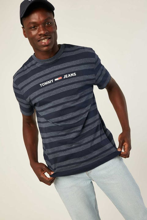 TOMMY JEANS TJM Heather Stripe Tee Black Iris Heather