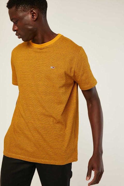 TOMMY JEANS TJM Overdyed Stripe Tee Golden Glow