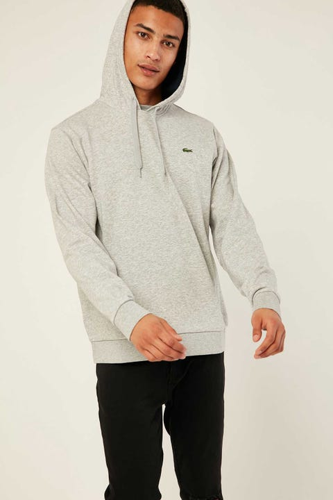 LACOSTE Training Non Brushed Hoodie Silver Chine