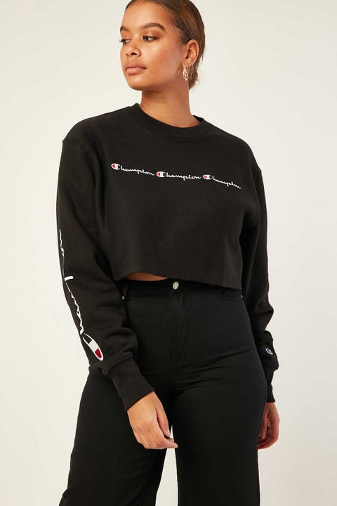 Champion Reverse Weave Cropped Crew BLack