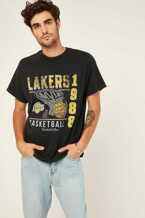 Mitchell & Ness Lakers Vintage Basket Tee Vintage Black