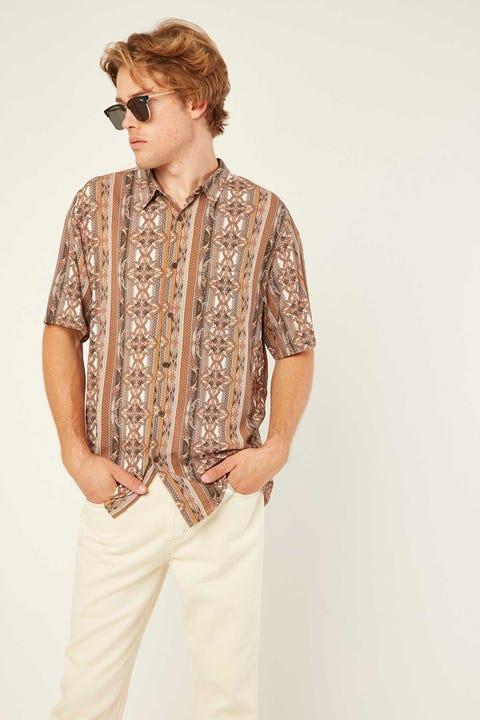 COMMON NEED Preston Party Shirt Brown Paisley