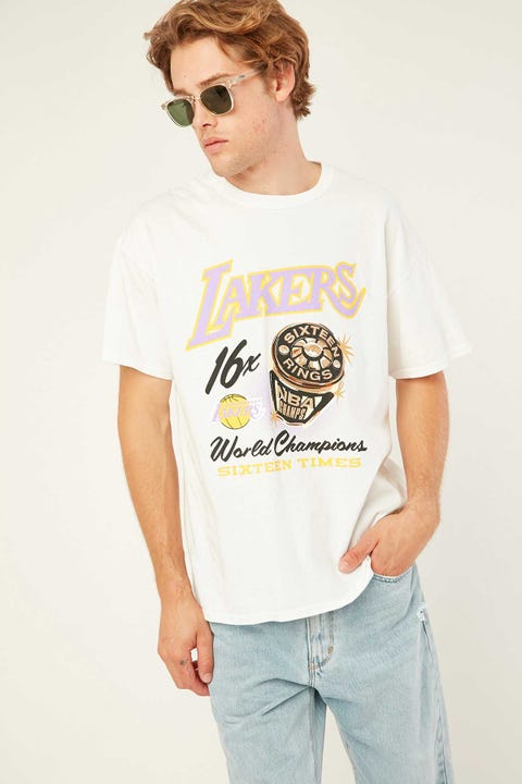 Mitchell & Ness Vintage Lakers Bling Ring Tee Vintage White