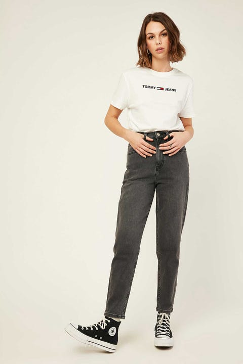 TOMMY JEANS Mom Jean High Rise Tapered Aries Bk Com