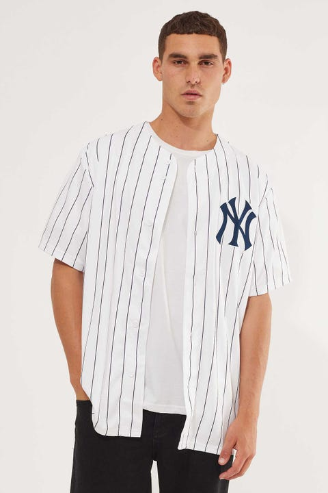 Majestic Athletic NY Yankees Chest Logo Jersey Pin Stripe White