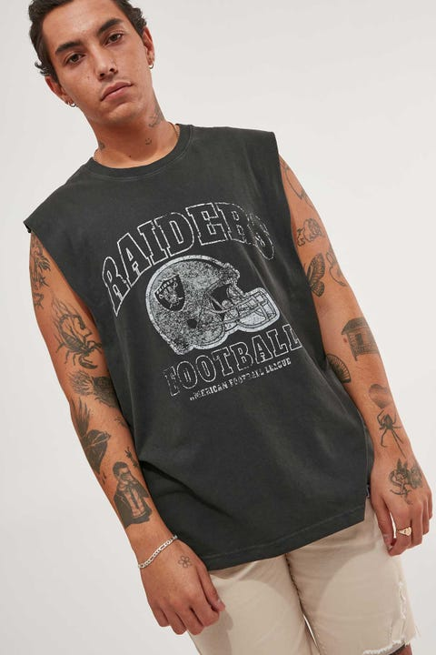 Majestic Athletic Las Vegas Raiders Vintage NFL Helmet Muscle Tee Raven