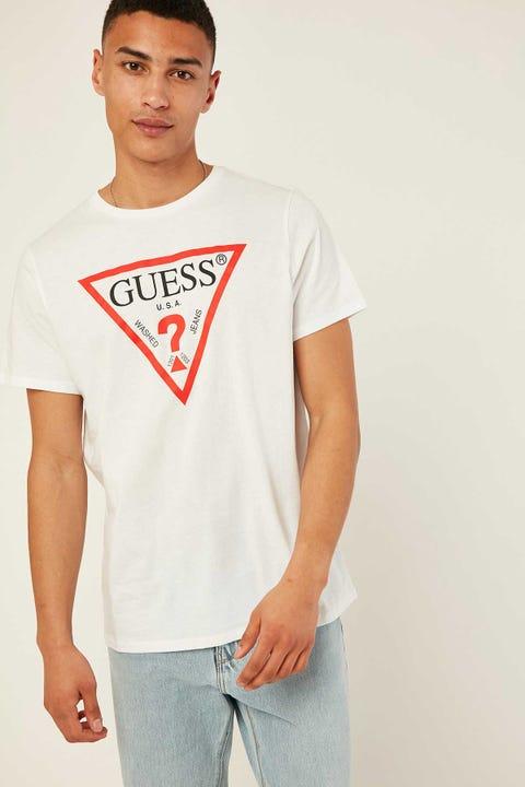 GUESS ORIGINALS SS Basic Classic Tri Logo Tee White