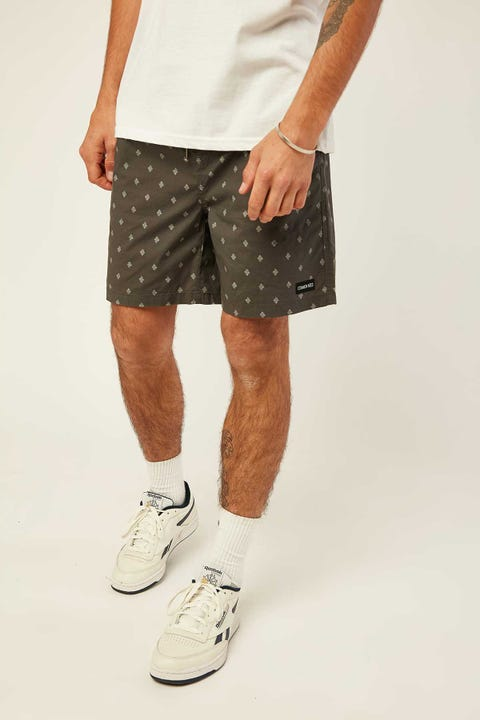 COMMON NEED Mini Paisley Swim Short Washed Black/Sage