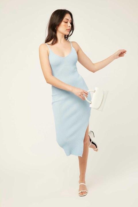 PERFECT STRANGER Chicago Midi Dress Icy Blue