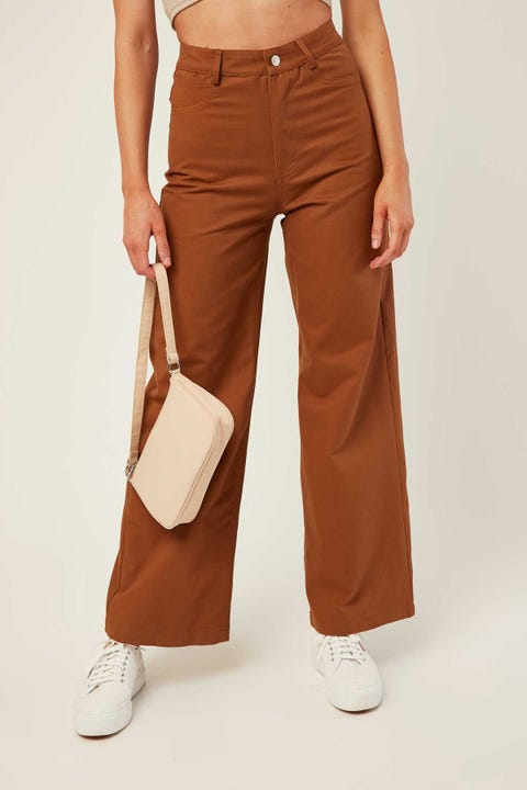 Perfect Stranger Nevaeh Wide Leg Pant Brown