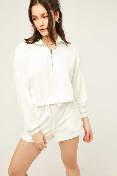 LUCK & TROUBLE Terry Zipped Cropped Crew White