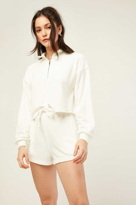 LUCK & TROUBLE Terry Elastic Short White