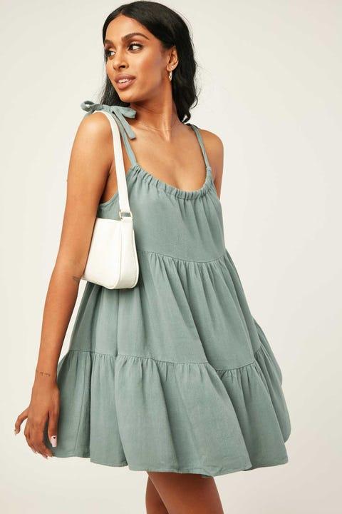 LUCK & TROUBLE Seabreeze Tie Shoulder Dress Teal