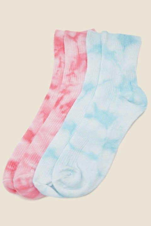 TOKEN Tie Dye Sock 2 Pack Pink & Blue