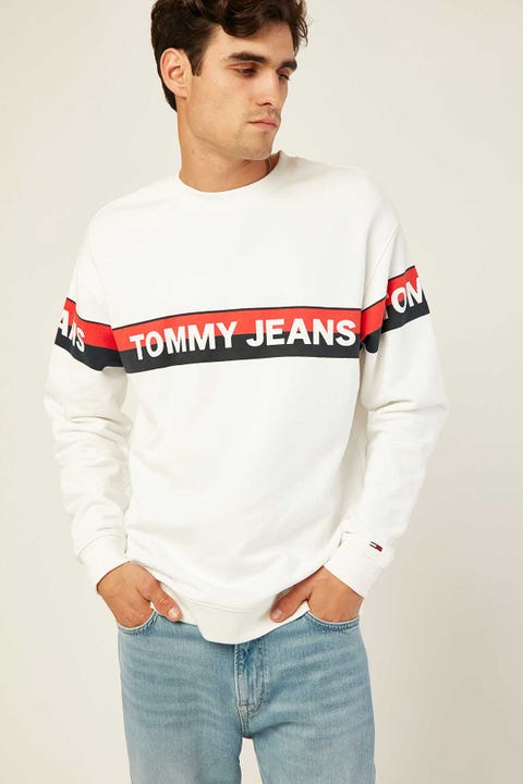 TOMMY JEANS TJM Band Logo Crew White