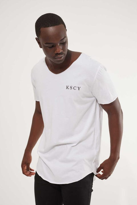 Kiss Chacey Undertow Raw V Neck Tee White