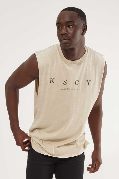 Kiss Chacey Solitude Step Hem Muscle Tee Acid Sand