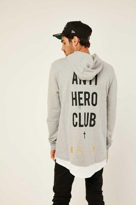 KISS CHACEY Anti Hero Club Layered Baseball Hooded Sweatshirt Grey Marle