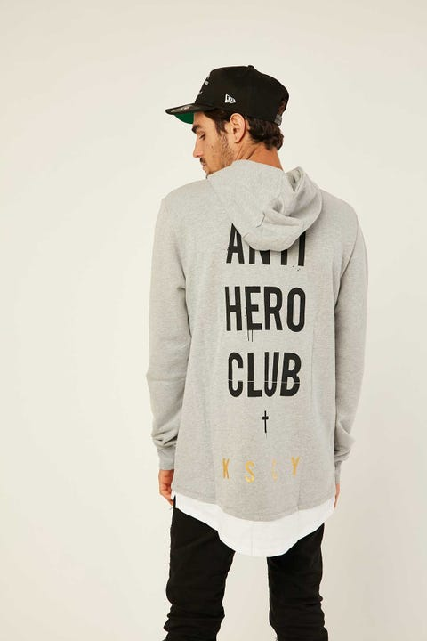 Kiss Chacey Anti Hero Club Layered Baseball Hooded Sweatshirt Grey Marle