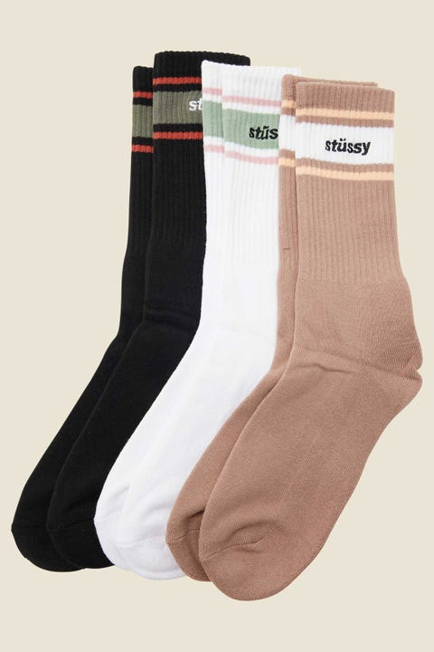Stussy Italic Stripe Sock 3 Pack White/Black/Solid Atmosphere
