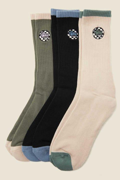 Stussy Checker Dot Sock 3 Pack White Sand/Black/Olive