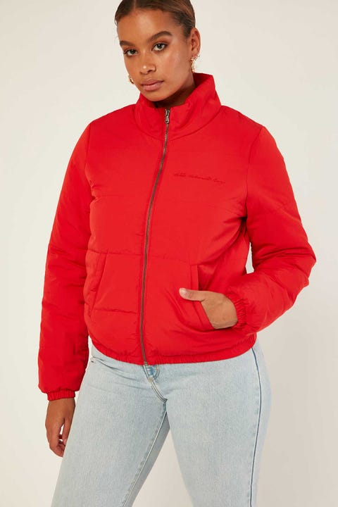 ALL ABOUT EVE Amber Puffa Jacket Red