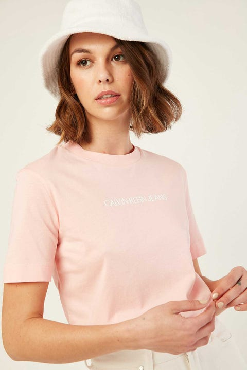 CALVIN KLEIN Shrunken Institutional Tee Pink