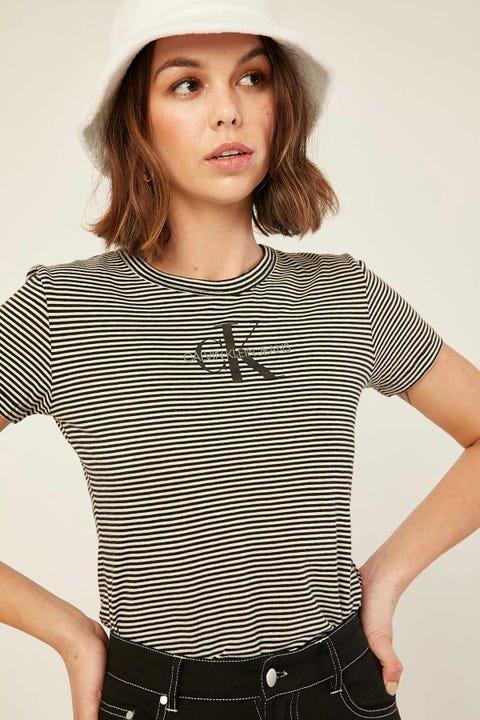 Calvin Klein Mono Stripe Baby Tee Black/White Stripe