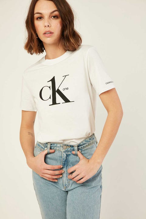 CALVIN KLEIN CK1 Modern Logo Tee White